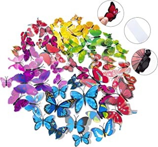 84 x PCS 3D Colorful Butterfly Wall Stickers DIY Art Decor Crafts for Nursery Classroom Offices Kids Girl Boy Baby Bedroom Bathroom Living Room Magnets and Glue Sticker Set