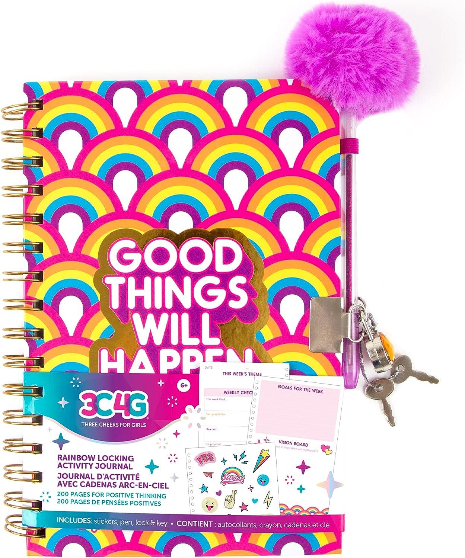 Overseas parallel import regular item Three Cheers for Girls - Journal Activity Bright Rainbow Kansas City Mall Locking