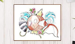 Koï fish magikarp de pokemon - Tinta/acuarela póster A4 / A3 / A2 / A1