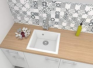 respekta Ohio50x44W Spüle, Mineralite Mineralverbundstoff, Weiß, 50 cm