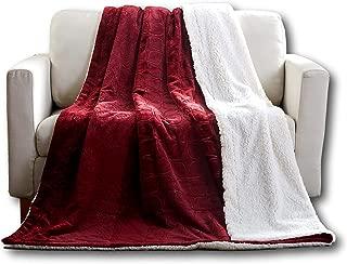 Tache Merlot Red Bed Blanket - Embossed Super Soft Warm Sherpa Fleece Throw Blanket - Twin Size - 63 x 87 Inch