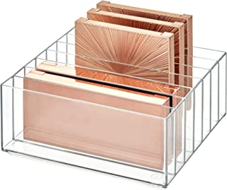 """iDesign 42870 Clarity BPA-Free Plastic Divided Wide Makeup Palette Organizer, 8.1"""" x 8.1"""" x 3.7"""""""