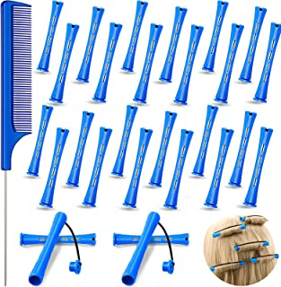 24 Pieces Hair Perm Rods Cold Wave Rods Plastic Perming Rods Curlers Hair Rollers with Steel Pintail Comb Rat Tail Comb To...