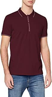 A|X Armani Exchange Men's Logo Zip Jersey Polo, Winetasting, L