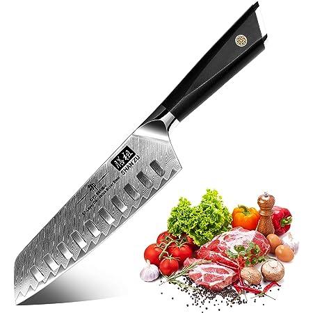 SHAN ZU Couteau de Santoku Damas, Couteau de Cuisine Damas, Couteau Japonais en Acier Damas AUS-10 67 Étages, Manche G10, Lame Super Tranchante, Professionnel pour Couper Légumes, Fruits, la Viande