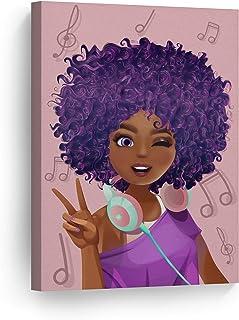 Purple Haired African Girl Earphones Pink Background Digital Painting Canvas Print Kids..