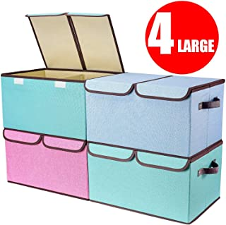 Larger Storage Cubes [4-Pack] Senbowe Linen Fabric Foldable Collapsible Storage Cube Bin..