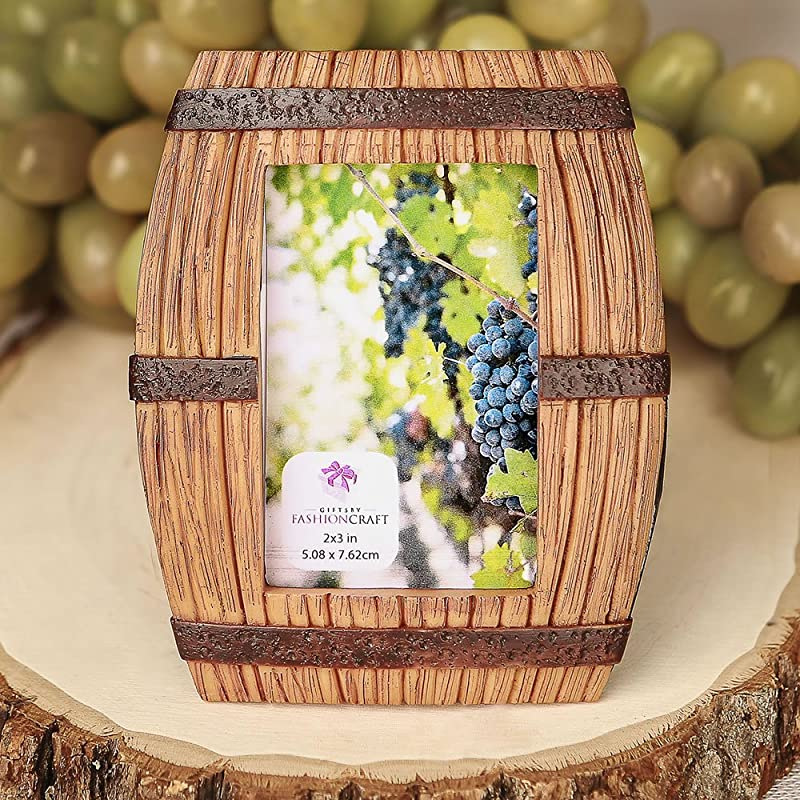 Fashion Craft 8870 Wine Barrel Themed Place Card Picture Frame Brown