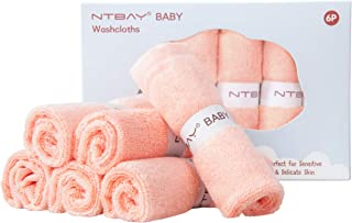 NTBAY Baby Bamboo Washcloths, Perfect Gift Baby Face Towels, 6 Pack, 10 x 10 Inches, Orange