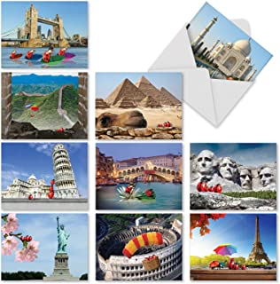 10 'Lady B's Travels' Greeting Cards Featuring Ladybugs Visiting Famous Landmarks - All Occasion Note Cards with Envelopes, Blank Stationery for Weddings, Birthdays, Thanks 4 x 5.12 inch M2354OCB