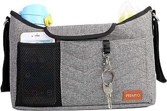 PREMYO Kinderwagen Organizer mit Getränkehalter - Universal Kinderwagentasche mit Wickelunterlage Schultergurt Grau