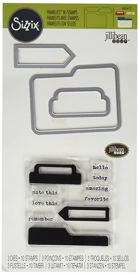 Sizzix Framelits Die Set with Stamps Tabs and Words by Jillibean Soup for Hampton Art (3 Pack)