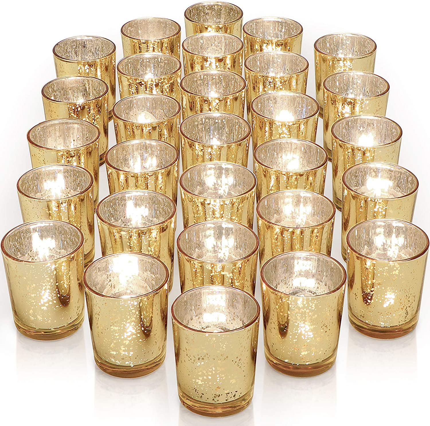 OFFicial Letine Gold Votive Candle Holders Set Speckled Mercury - 36 of G Popular products