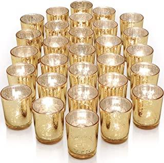 Letine Glass Votive Candle Holders Set of 36 - Speckled Mercury Gold Tealight Candle Holder Bulk - Ideal for Wedding Cente...