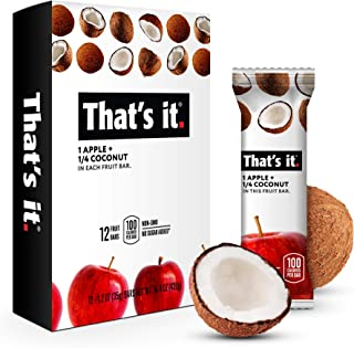That's it. Apple + Coconut 100% Natural Real Fruit Bar, Best High Fiber Vegan, Gluten Free Healthy Snack, Paleo for Children & Adults, Non GMO No Added Sugar, No Preservatives Energy Food (12 Pack)