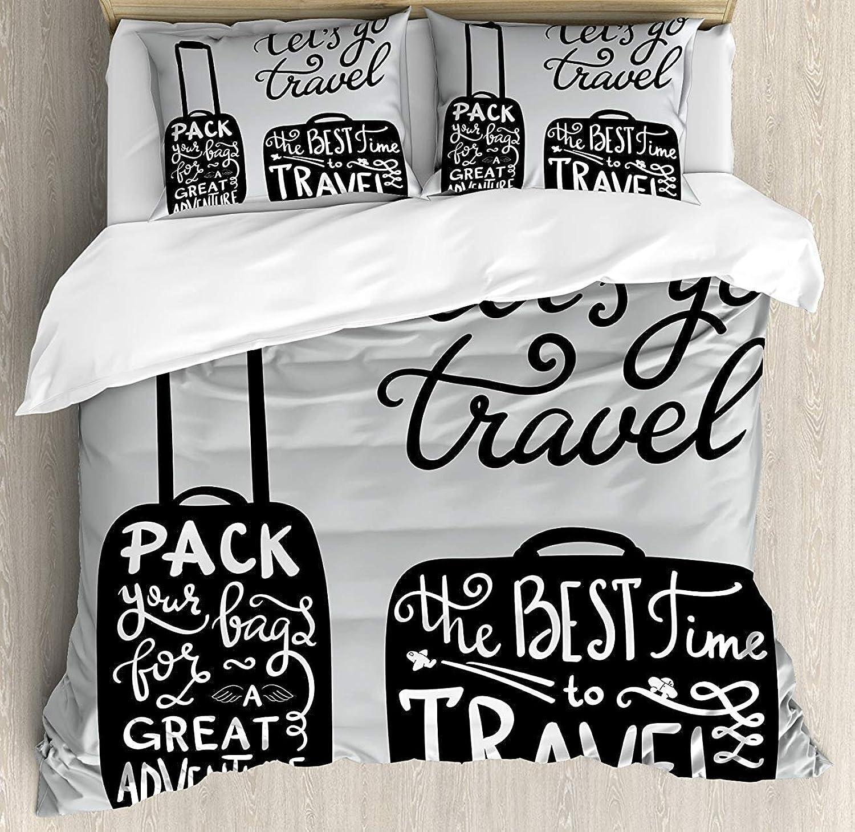 Adventure Bet Set 4pcs Bedding Sets Duvet Cover Flat Sheet Decorative Pillow Cases Twin Size Kids Adults TeensPacking The Bags Traveling World Journey Fun Themed Work Art Print