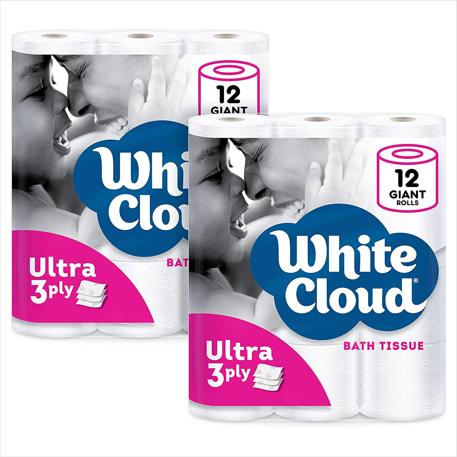 White Cloud Ultra Soft & Thick 3-Ply Toilet Paper – 24 Total Giant Rolls, 231 Sheets per Roll, 12 Rolls (Pack of 2) : Health & Household
