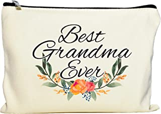 Moonwake Designs- Best Grandma Ever Makeup Bag, Gift for Grandma, Mother's Day Gift, Cosmetic Bag for Nana, Floral Bag, Travel Makeup Pouch