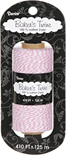 Darice BT104 2-Ply Bakers Cotton Twine, 410-Feet, Pink/White