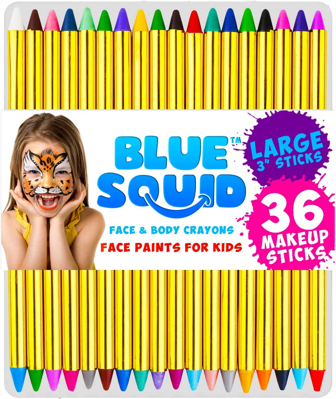 Face Paint Crayons for Kids Blue Squid Year-end annual Fees free!! account Jumbo 36 3.25