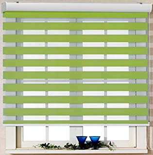 Foiresoft Custom Cut to Size, [Winsharp Basic, Green,W 75 x H 72 inch] Zebra Roller Blinds, Dual Layer Shades, Sheer or Privacy Light Control, Day and Night Window Drapes, 20 to 110 inch Wide