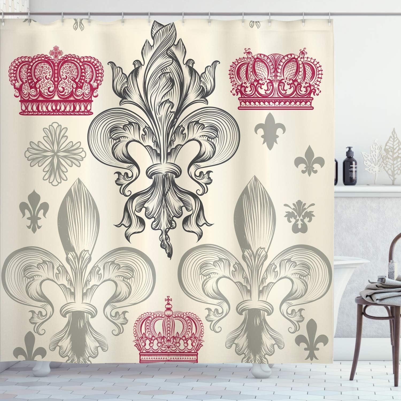 Ambesonne Fleur De Lis Shower 贈物 Fl Curtain Pattern 引出物 Heraldic Royal