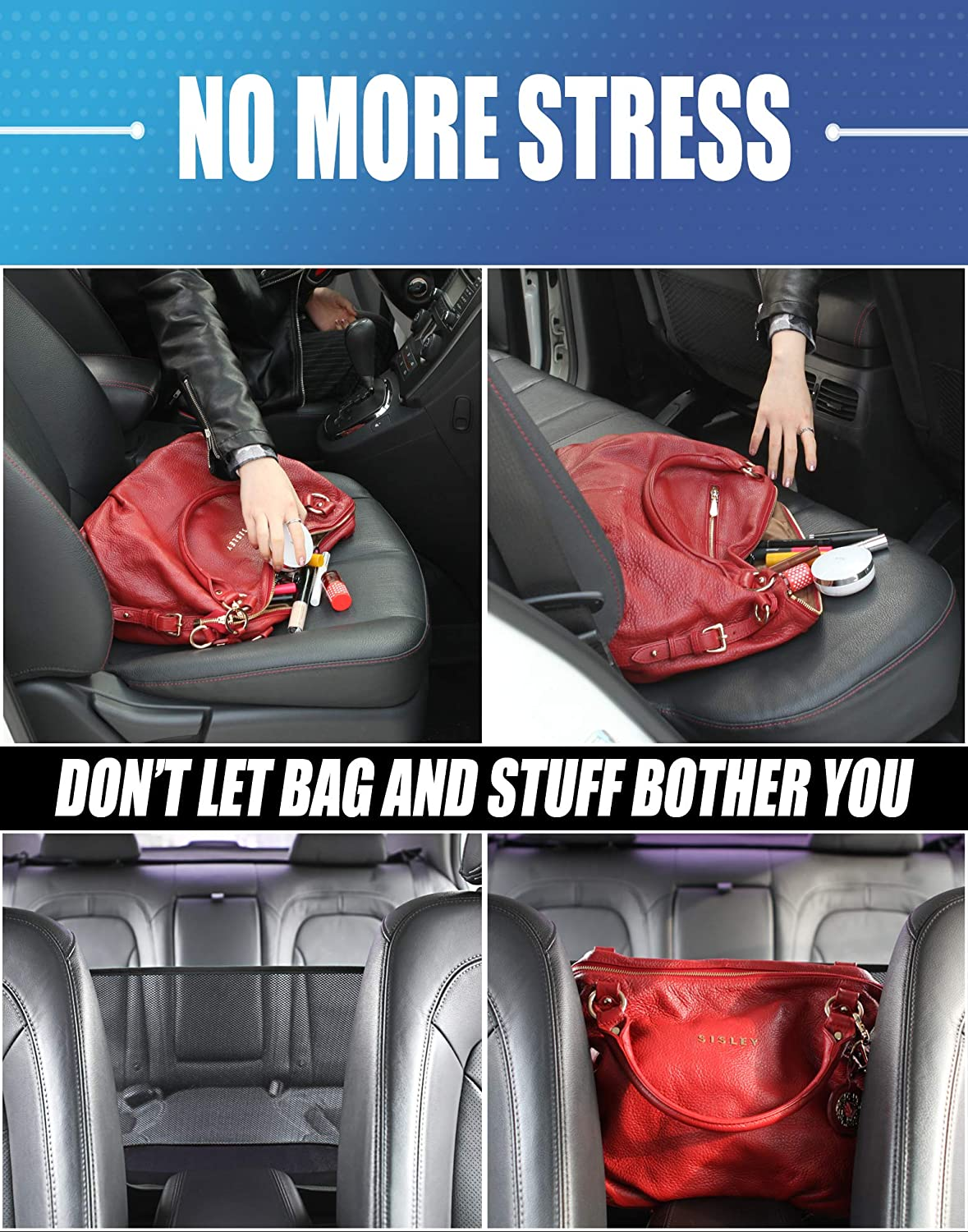Create More Space in car Console Organizer KMMOTORS Car mesh Organizer Pouch Organizer Black Barrier for Kids and Pets Normal