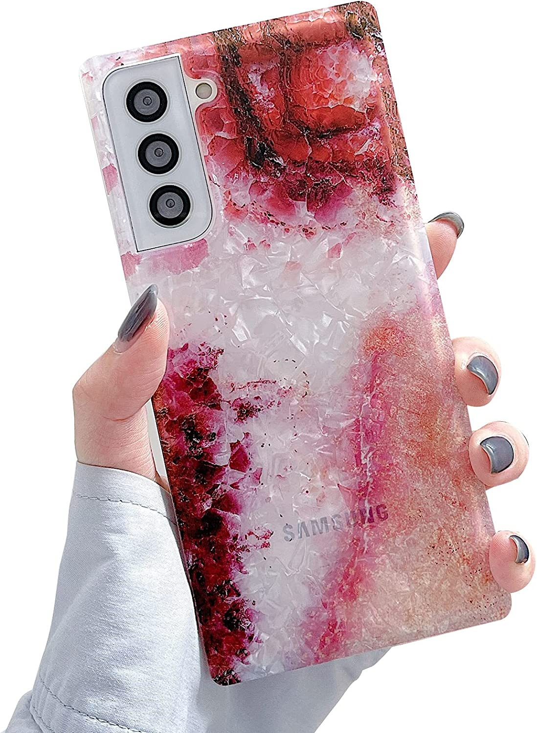 PHYLLA Square Red Gradient Marble Phone Case for Samsung Galaxy S21 Plus / S21+ 5G 6.7 inches Soft Silicone Shockproof Reinforced Corners
