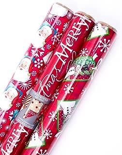 Hallmark Reversible Christmas Wrapping Paper Bundle (Pack of 3, 120 sq. ft. ttl.) Santa, Polka Dots, Stripes, Merry Christmas, Snowflakes, Snowmen