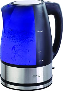 ECG RK 2010 电热水壶,不锈钢,黑色 - 银色 - 蓝色