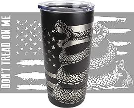 Don't Tread on Me 20oz. Tumbler - Gadsden Snake Cup - American Flag - Laser Engraved 360 Degree Wrap, 2nd Amendment Yeti Style 20 oz Stainless Mug
