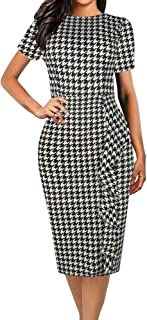 Women's Vintage Polka Dot Floral Patchwork Stretchy Work Casual Bodycon Sheath Pencil Dress OX055