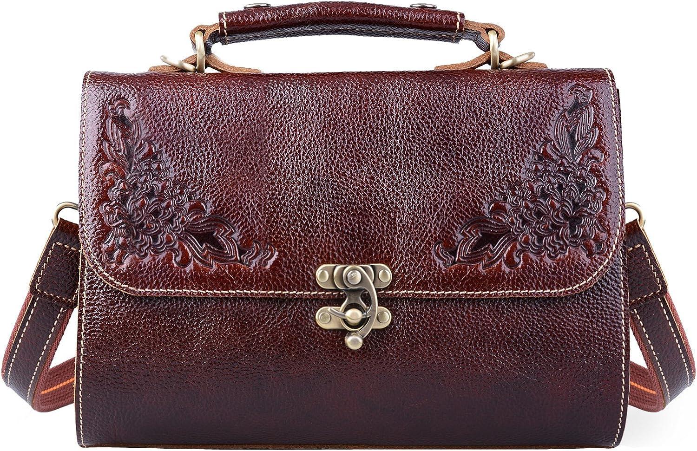 Jack&Chris Small Vintage Satchel Leather Handbags Floral Purse Top Handle Crossbody Bag for Women