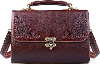 Jack&Chris Small Vintage Satchel Leather Handbags Floral Purse Top Handle Crossbody Bag for Women