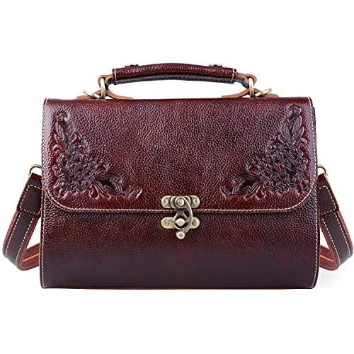 19ecdc1e1848 Jack Chris Small Vintage Satchel Leather Handbags Floral Purse Top Handle  Crossbody Bag for Women