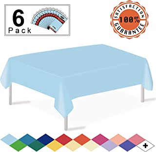 Light Blue Plastic Tablecloths Disposable Table Covers 6 Pack Premium 54 x 108 Inches Table Cloth for Rectangle Tables up to 8 Feet and for Picnic Birthday Wedding Events Occasions, PEVA Material