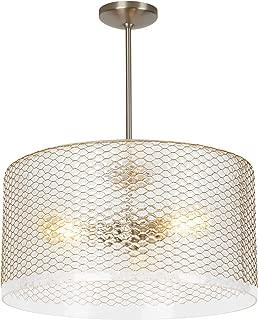 LBL Lighting LP966CR Lania Grande - Three Light Line-Voltage Pendant, Clear Brass Finish with Amber Glass