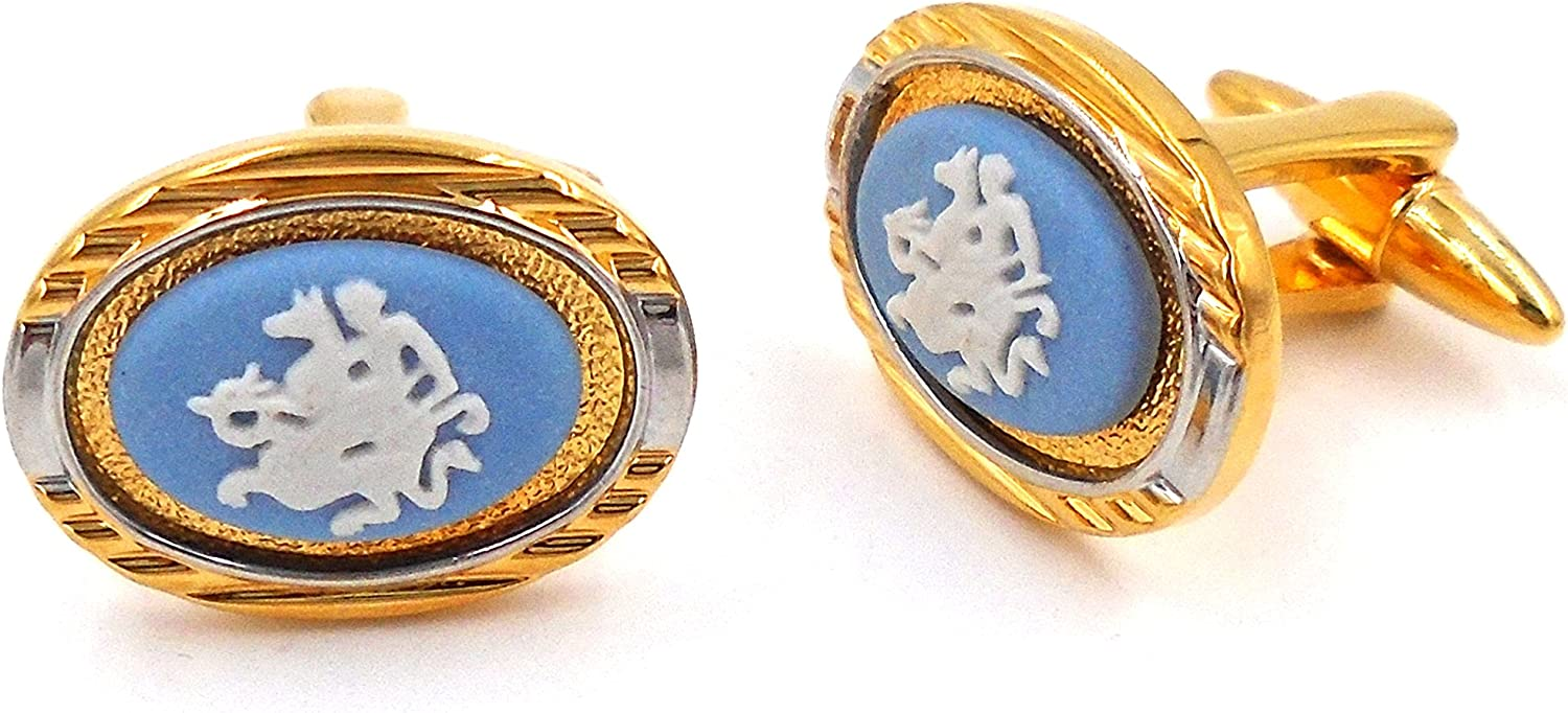 Wedgwood Authentic Gold Silver Jasperware Man Toned excellence Cufflinks 55% OFF