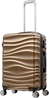R & F 24 inch Trolley Travel Bag by R and F, Scratch Resistant Hard Body for Unisex- Brown - RF-001