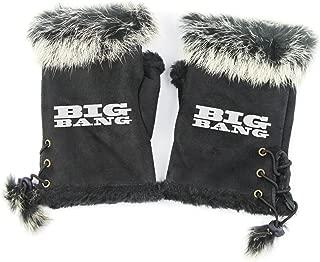 Fanstown KPOP Glove black half finger fuzzy swade adjustable with lomo card