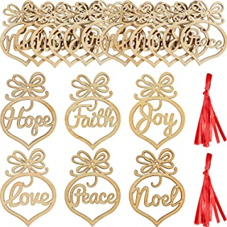 SATINIOR 18 Pieces Christmas Wooden Ornaments Tree Hanging Tags Wooden Hollow Letter Decorations