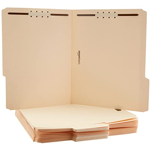 AmazonBasics AMZ201 Manila File Folders with Fasteners - Letter Size, 100-Pack