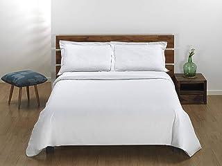 Sibiles Juego de Funda Nórdica Blanca Hotel con Cojines Volante 100% Algodón Natural 150/160, Cama 150/160