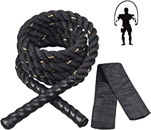 Feitycom Weighted Jump Ropes for Fitness, 3LB Heavy Jump Rope for Men Women Adults, Workout Equipment Skipping Battle Rope with Sleeve for Home Gym,Total Body Exercise for Boxing Training ST1000