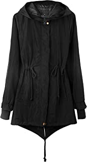 4THSEASON Women's Rain Coat Water-Resistant Windproof Windbreaker with Hood