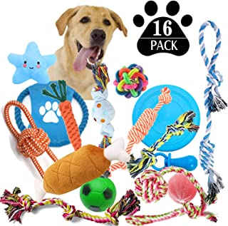 JSXD Dog Puppy Toys, 16 Pack Puppy Chew Toys for Playtime and Teething, Dog Chew Toys Rope Toys Ball Toys Squeaky Toys and frisbees Included, Dog Toys for Small to Medium Dogs