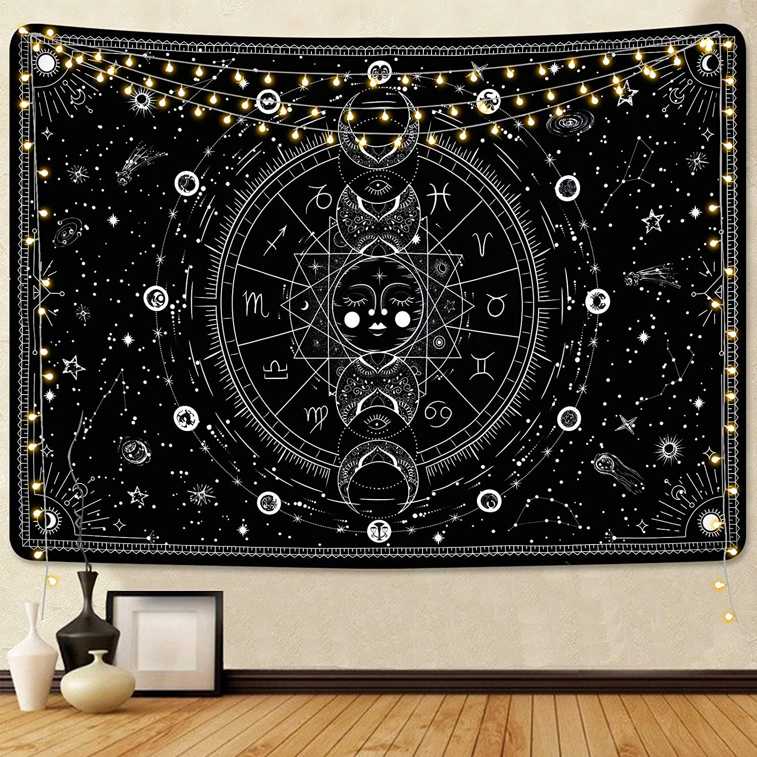 Sun Finally resale start and Moon Tapestry Black Tapestries Wa Stars Starry White Memphis Mall