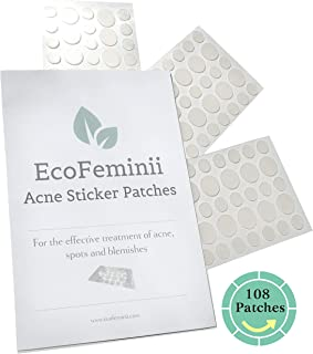EcoFeminii Targeted Spot & Blemish Treatment Acne Patches-108 Count/3 Sheets-Absorbing Hydrocolloid Dot Covers Repair-Effective on Oily/Combination Skin-Discreet & Transparent Remedy Ultra Clear Face