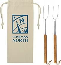 Go Compass North Longest 6 Foot Marshmallow Roasting Sticks – Be Safe Around Alaskan Size Campfires Cooking hot Dogs and S'Mores. Set of 2 Stainless Forks – Satisfaction Guarantee!