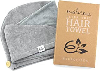 Evolatree Microfiber Hair Towel Wrap - Quick Magic Hair Dry Hat - Anti Frizz Products For Curly Hair Drying Towels - Neutral Gray